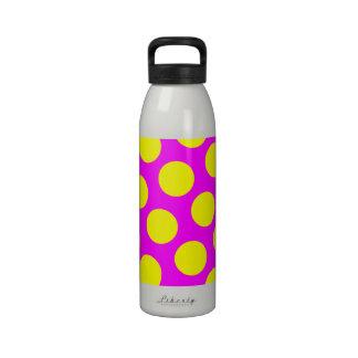 Magenta and Yellow Polka Dots Reusable Water Bottles