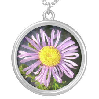 Magenta Aster - A Star of Love and Fidelity Round Pendant Necklace