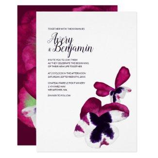 Magenta Autumn Flowers Wedding Invitation