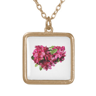 Magenta Azaleas Gold Plated Necklace