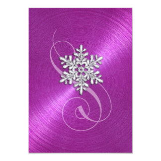 Magenta Background Snowflake with Swash Card