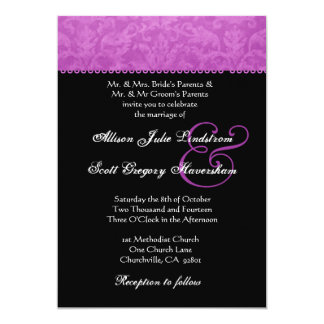 "Magenta Batik Damask Wedding Invitation 5"" X 7"" Invitation Card"