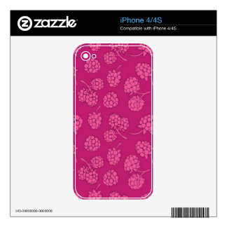 Magenta Berry Pattern Decal For The iPhone 4