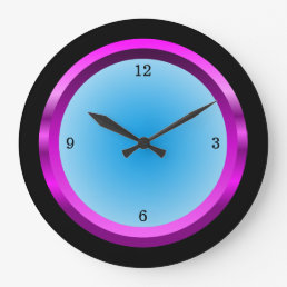 Magenta Black and Cool Blue Large Clock