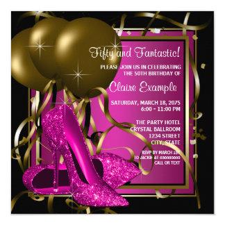 Magenta Black Gold Heel Shoe Birthday Party Card