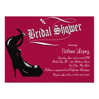 Magenta Black High Heels Bridal Shower Invitations