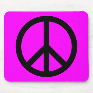 Magenta Black Peace Sign Mousepads