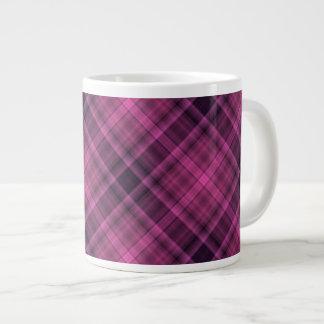 Magenta black plaid pattern large coffee mug