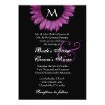 Magenta Black & White Sunflower Wedding Invitation
