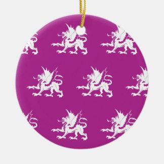 Magenta blanca de los dragones ornaments para arbol de navidad
