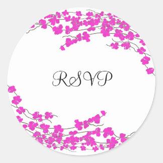 Magenta Blossoms RSVP Classic Round Sticker