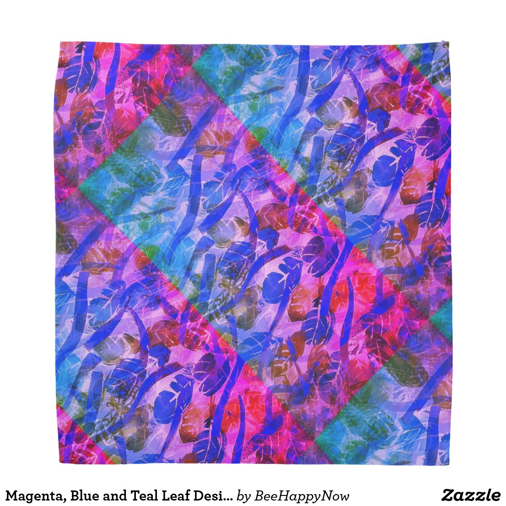 Magenta, Blue and Teal Leaf Design on Bandana