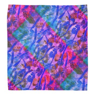 Magenta, Blue and Teal Leaf Design on Bandana