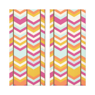 Magenta Blue Orange Gold Checks V Patterns Canvas Print