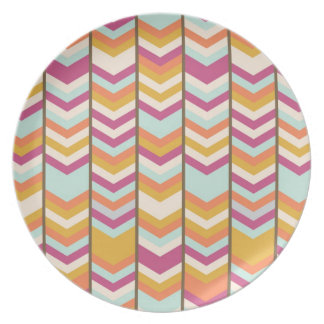 Magenta Blue Orange Gold Checks V Patterns Plate