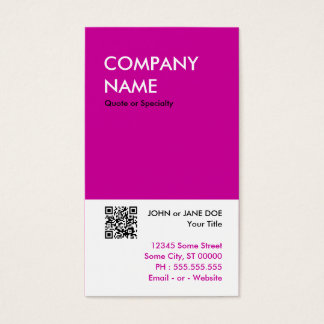 magenta bold design your own QR code Business Card