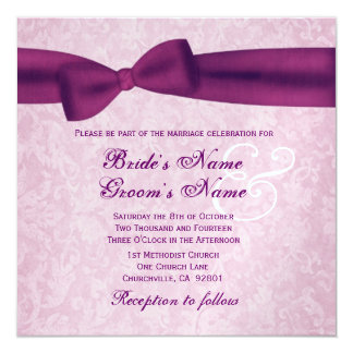 Magenta Bow and Pink Damask Wedding Template 5.25x5.25 Square Paper Invitation Card