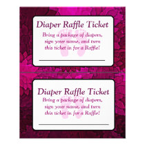 Magenta Bows Baby Shower Raffle Ticket Flyer