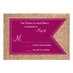 Magenta Burlap Print Rustic Wedding RSVP Cards