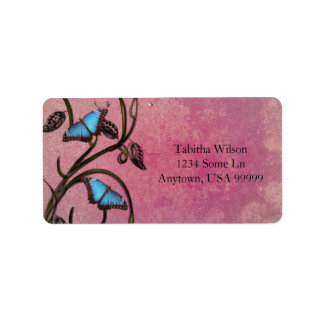 Magenta Butterfly Pair Address Label