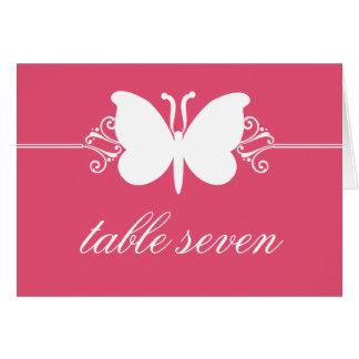 Magenta Butterfly Swirls Wedding Table Card