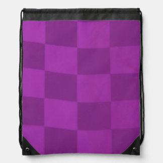 Magenta Checkered Flag Drawstring Backpack