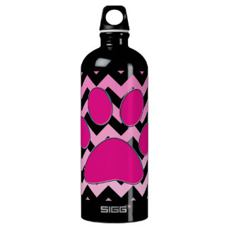 Magenta Chevron Paw Monogram ZigZag Aluminum Water Bottle