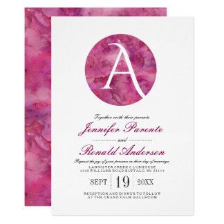 Magenta Cloud Window Monogram Wedding Invitation