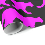 Magenta Cougar Silhouette Gift Wrap Paper