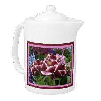 Magenta Cream Tulips Teapot