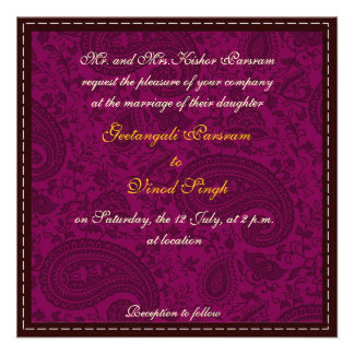 Magenta damask brocade Hindu wedding Personalized Announcements