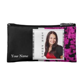 Magenta damask instagram photo template cosmetic bag