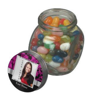 Magenta damask instagram photo template glass jars