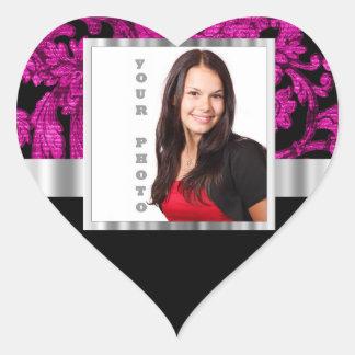 Magenta damask instagram photo template heart sticker