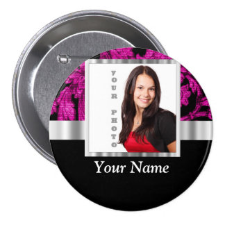 Magenta damask instagram photo template pinback button