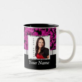 Magenta damask instagram photo template Two-Tone coffee mug