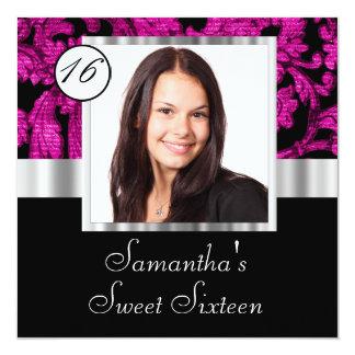 Magenta damask instagram  sweet sixteen card