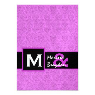 Magenta Damask Premium Metallic Wedding C833 5x7 Paper Invitation Card