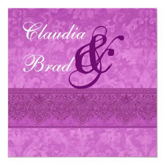 """Magenta Damask Wedding Invitation E404 5.25"""" Square Invitation Card"""
