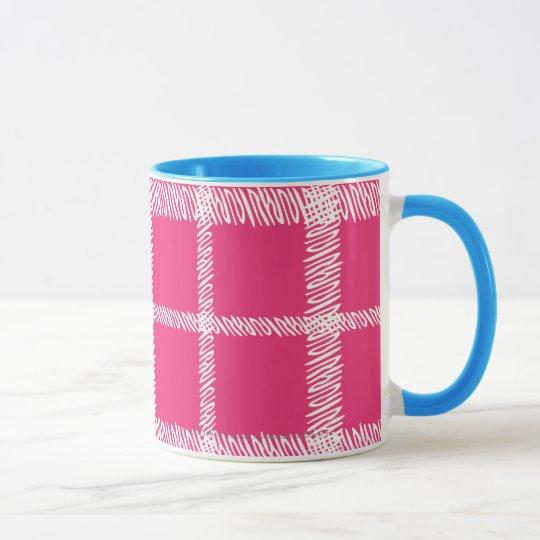 Magenta de la tela escocesa taza