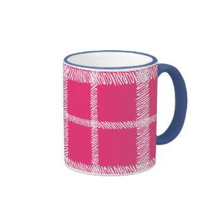 Magenta de la tela escocesa taza de dos colores