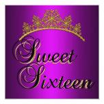 Magenta de la tiara del oro de la fiesta de invitación 13,3 cm x 13,3cm