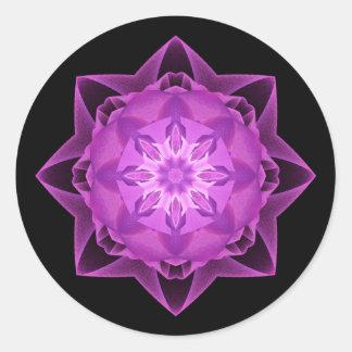Magenta de Stardust del fractal Pegatina Redonda