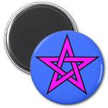 Magenta del Pentagram en azul Imanes Para Frigoríficos