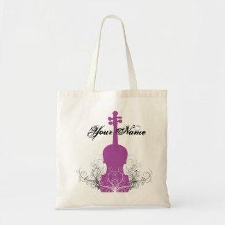 Magenta del tote del violín con remolinos bolsa tela barata