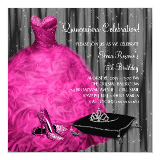 Magenta Dress High Heel Shoes Princess Quinceanera Card
