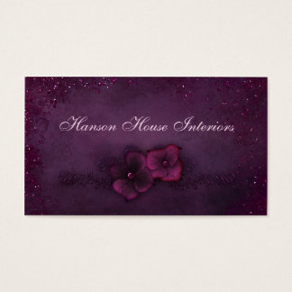 Magenta Eggplant Vintage Sparkle Flowers Business Card
