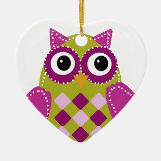 Magenta el búho adorable ornaments para arbol de navidad
