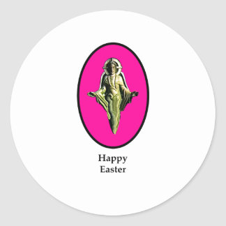Magenta feliz de Cantorbery de la imagen de Pascua Pegatina Redonda