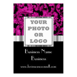 Magenta floral damask photo logo large business cards (Pack of 100)